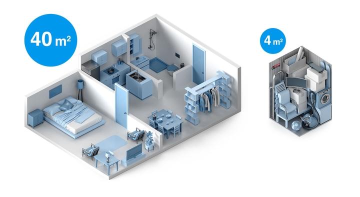 Grafischer Größenvergleich einer Wohnung mit passendem Lagerraum