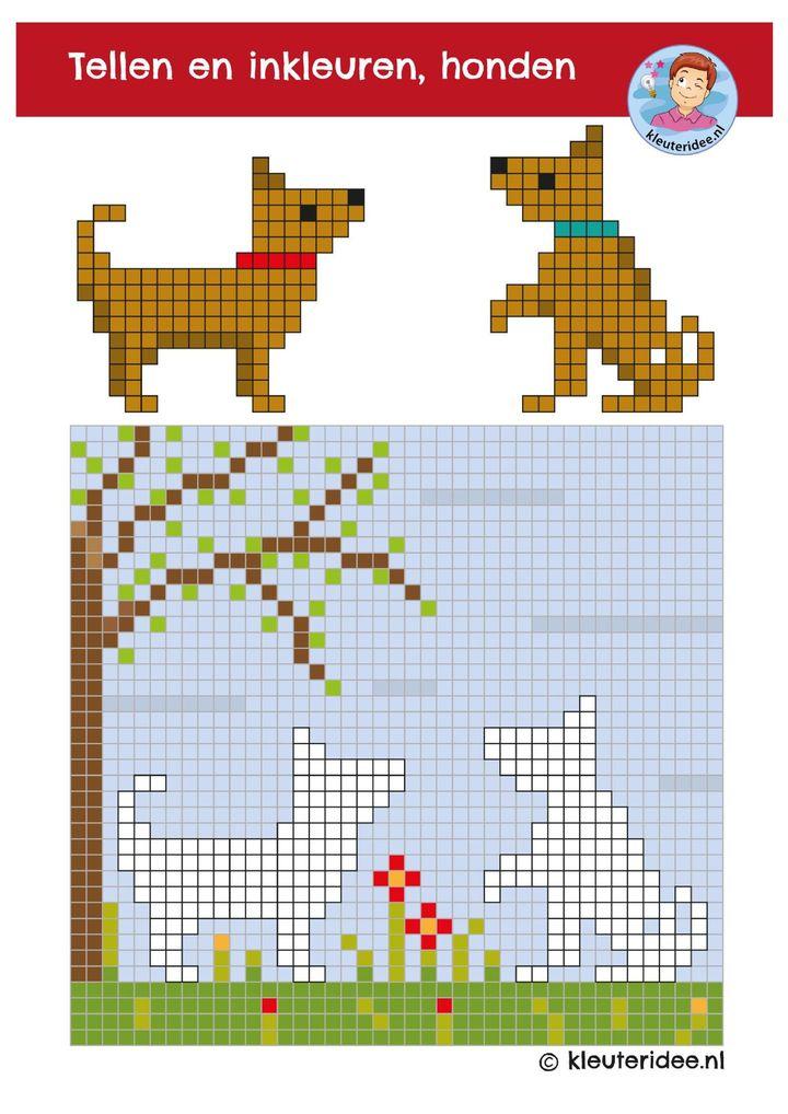 Pixels kleuren kleuteridee, honden