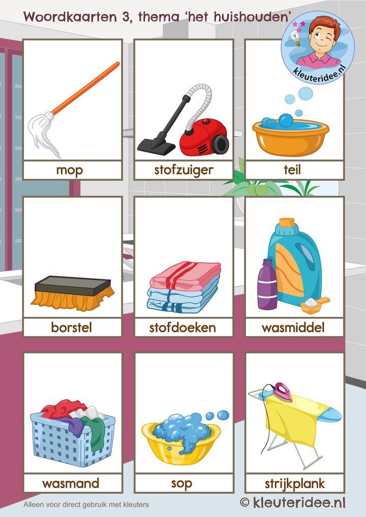 Woordkaarten 3 thema 'het huishouden', kleuteridee, free printable