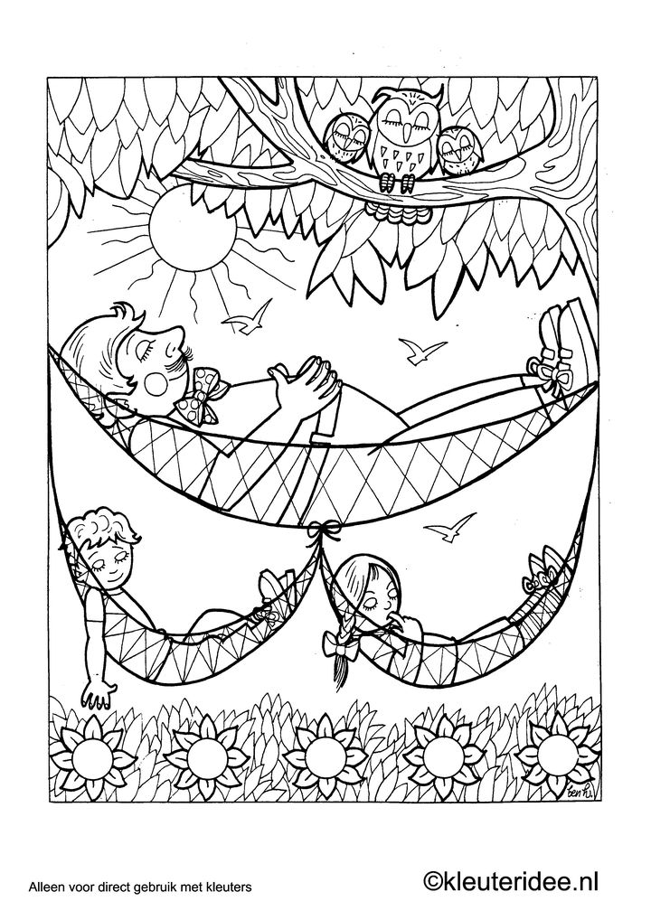 Kleurplaat hangmat, kleuteridee.nl , preschool coloring