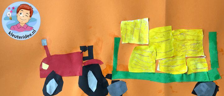 Tractor met balenperser, kleuteridee, thema de koe, Kindergarten cow theme, tractor craft