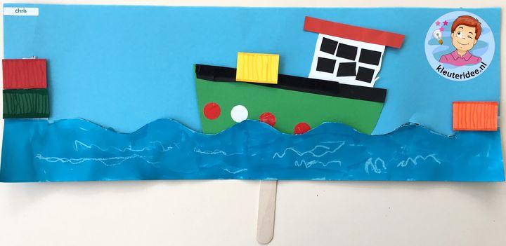 Containerschip maken met kleuters, kleuteridee, thema de haven