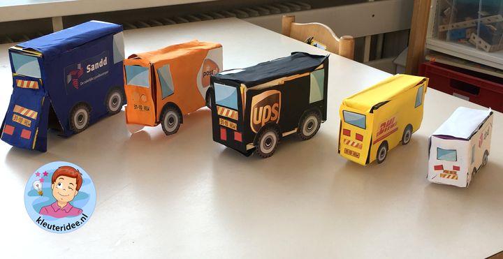 auto'van pakketdiensten maken met kleuters 5, thema post en pakket, kleuteridee
