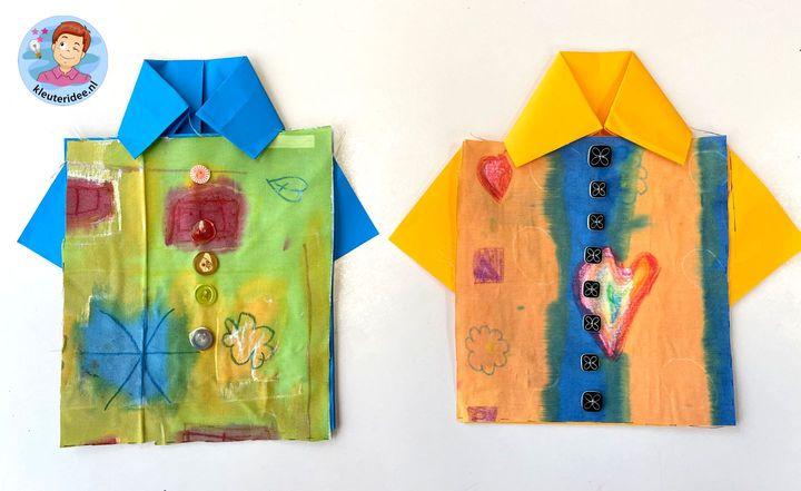 Blouse van eigengemaakte stof door kleuters, thema kleding, kleuteridee