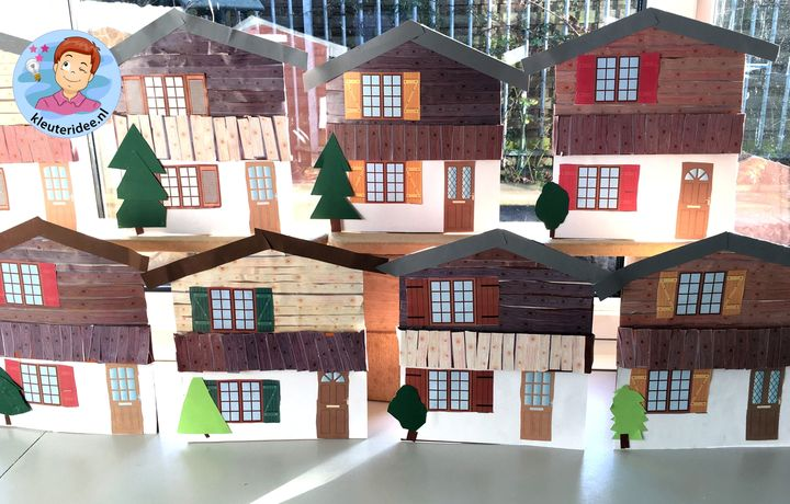chalet knutselen, thema bergen kleuters, Kindergarten mountains craft