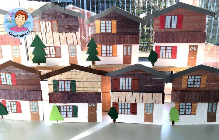 chalet knutselen, thema bergen kleuters, Kindergarten mountains craft
