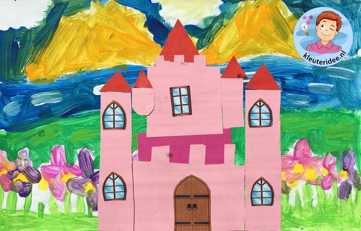 kasteel knippen en plakken, thema ridders, kleuteridee, knights theme kindergarten craft
