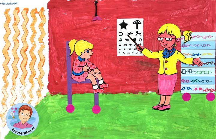 Opticien knutselen met kleuters, kleuteridee,  thema het oog, kindegarten optician craft, eye theme