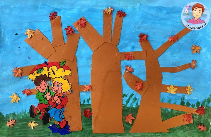 collage herfst bos kleuters, thema herfst kleuteridee 4