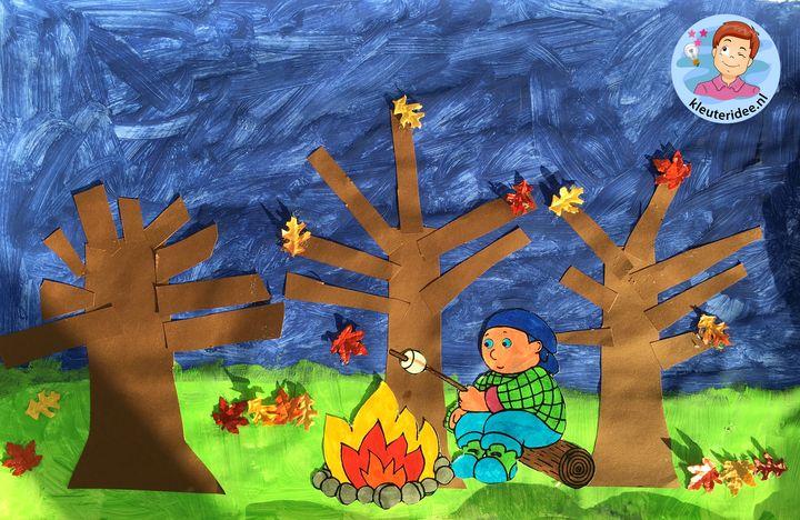 collage herfst bos kleuters, thema herfst kleuteridee 1