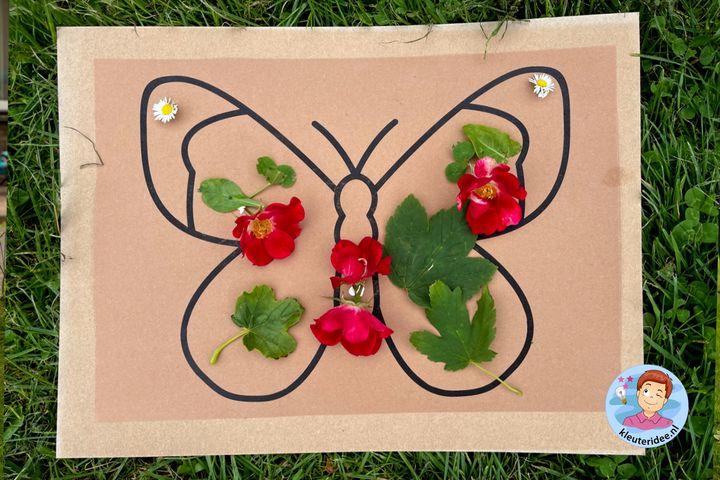 Vlinderfeest, vlinder van natuurlijke materialen, kleuteridee