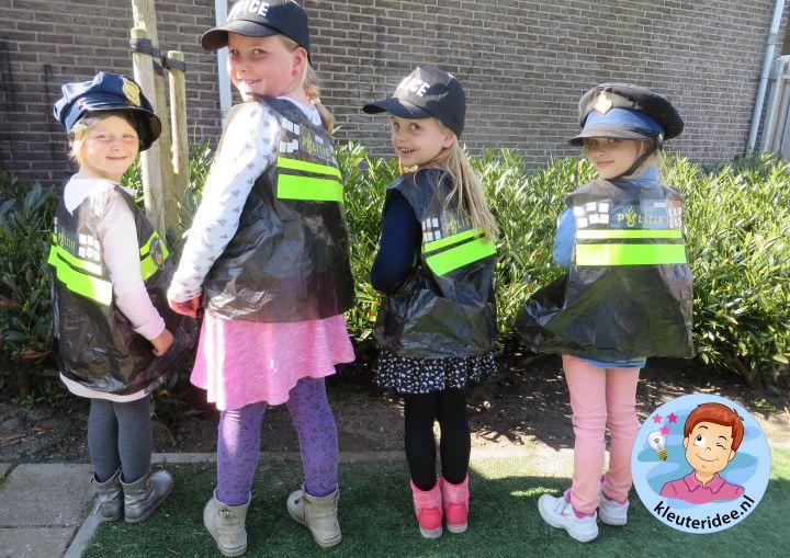 Politiehes knutselen met kleuters 3, met gratis download, Kindergarten police theme, kleuteridee