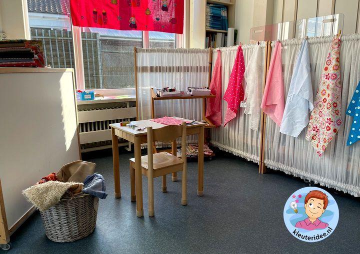 Naaihoek, kleermakerij, thema kleding, kleuteridee 2