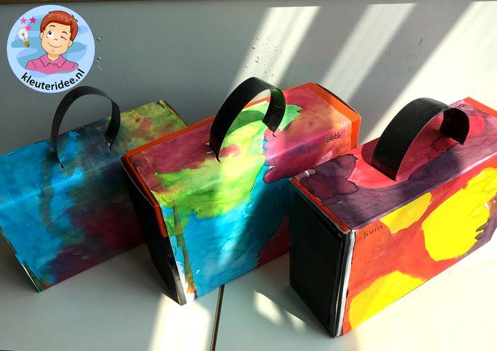 Koffer maken met ecoline, thema vliegveld, kleuteridee, Kindergarten airport craft, airport theme