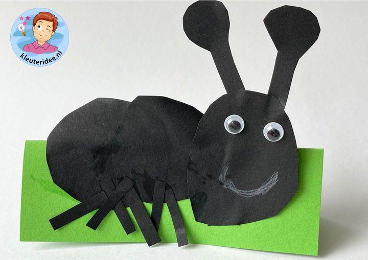 mier van papier met kleuters, thema insecten, kleuteridee
