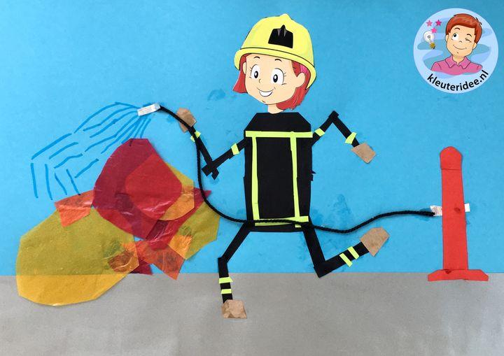 brandweer knutselen, thema brandweer, kleuteridee, kindergarten fir fighters craft