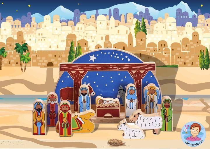 Speeltafel kerst, kleuters, Kindergarten nativity play area, speelmatten kleuteridee
