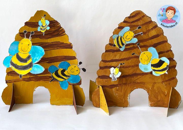 bijenkorf knutselen, bee hive craft kindergarten, kleuteridee