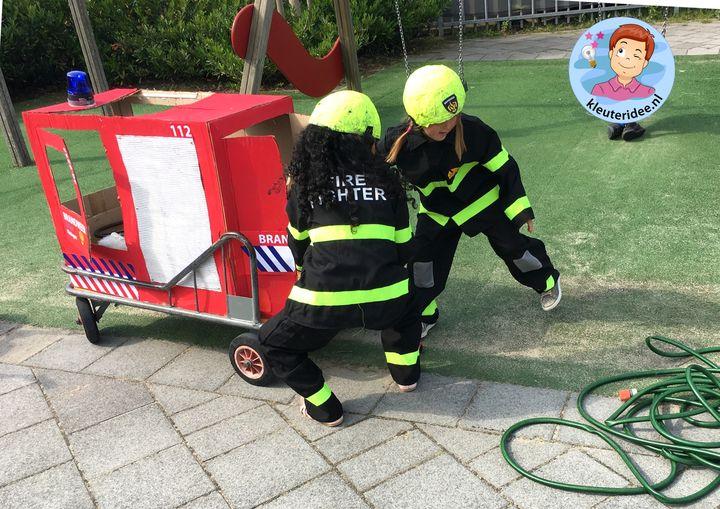 brandweerwagen knutselen op de stuurkar, thema brandweer, kleuteridee, fire fighters kindergarten theme