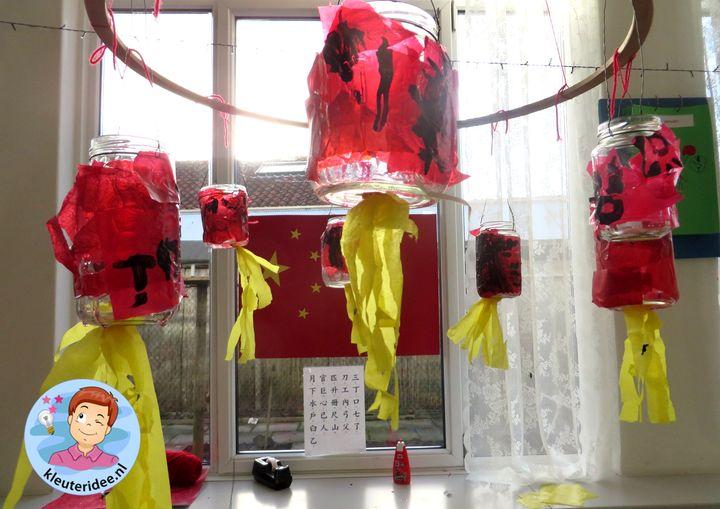 Chinese lampionnen van potjes beplakt met vliegerpapier, thema China