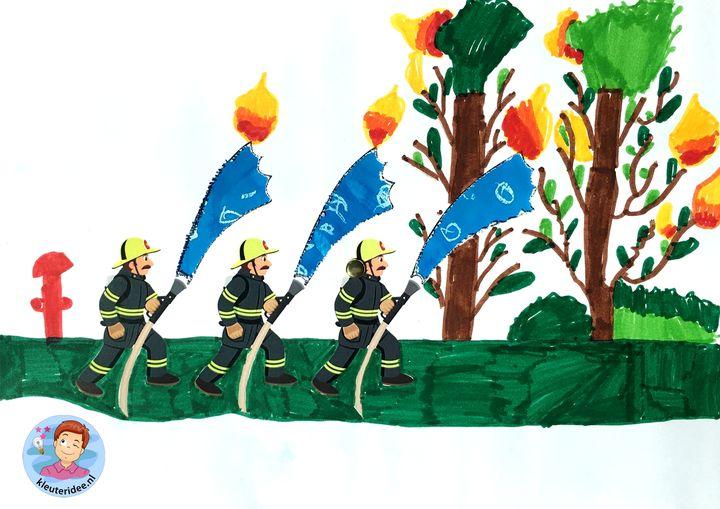 Knutselwerkje spuiten, de brandweer, kleuteridee