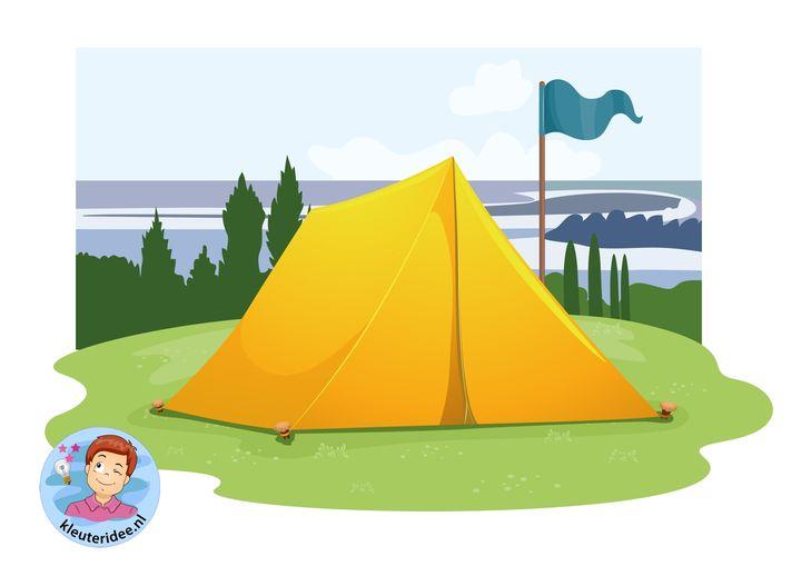 Kaartenset visuele discriminatie en kritisch luisteren voor kleuters 5, thema camping, kleuteridee.nl, preschool visual discrimination, camping theme, free printable
