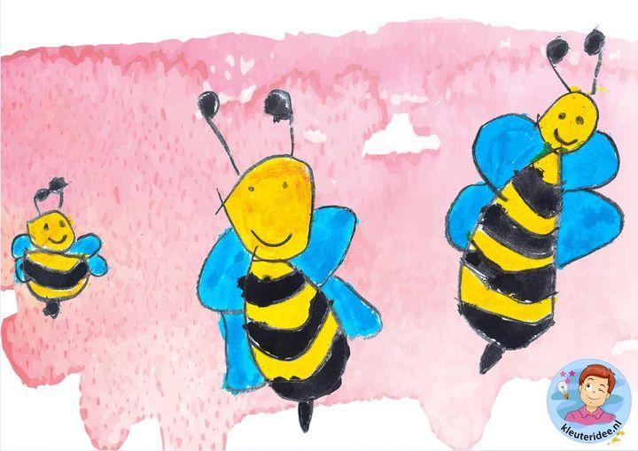 bijen tekenen stap voor stap, kleuteridee, thema insecten