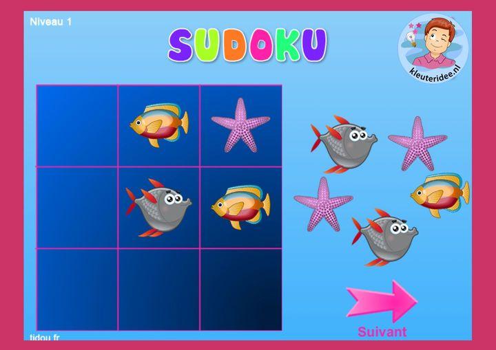 Sudoku zeedieren, kleuteridee