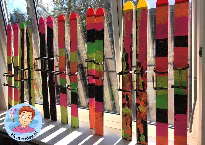 ski knutselen, thema bergen met kleuters, kindergarten ski craft, kleuteridee