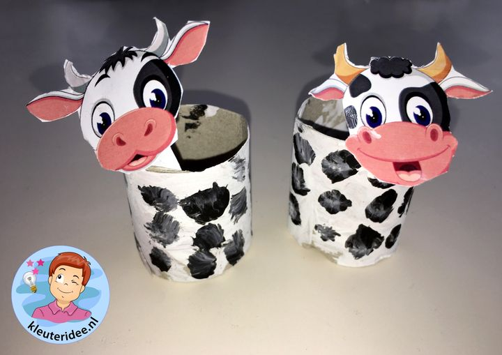 Stal met koeien knutselen, kleuteridee, Kindergarten stable with cows craft, with printable cows