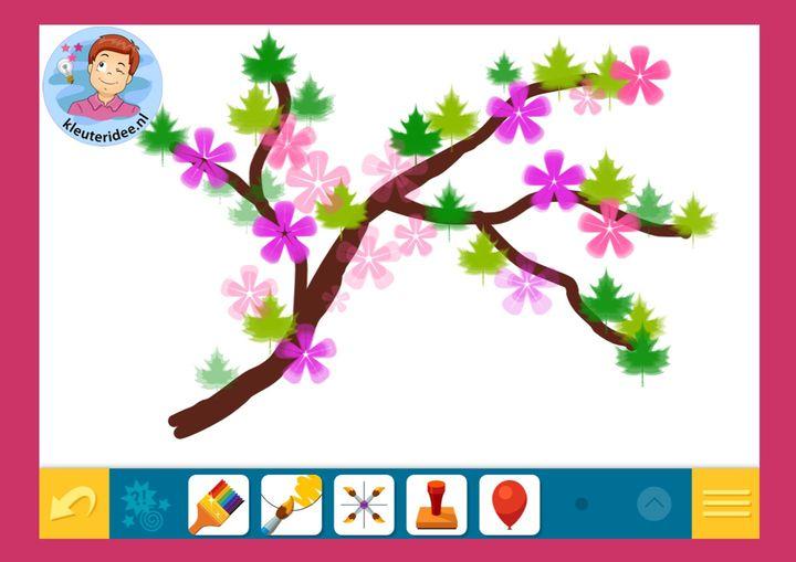 Online stempelen, verven, tekenen en kleuren, spel, kleuters online. kleuteridee