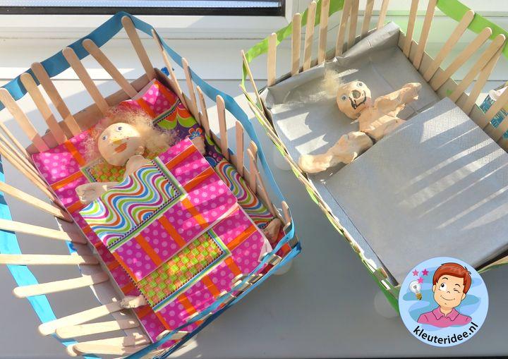 Ledikantjes knutselen, tehma baby, kleuteridee.nl, Kindergarten baby bed craft
