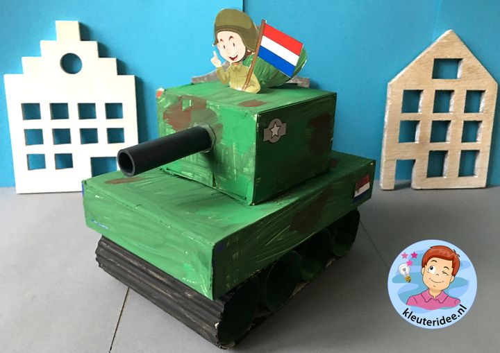 tank knutselen, soldaten, bevrijdingsdag, kleuteridee