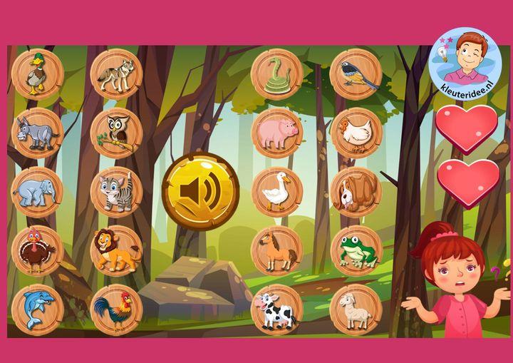 Dieren raden met geluiden, kleuters online game, kleuteridee