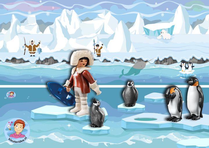 Speelmatten Noordpool Zuidpool, kleuteridee pinguins eskimo