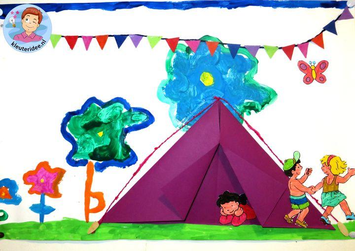 Collage thema camping 5 met kleuters, kleuteridee.nl, voor free printables zie de website