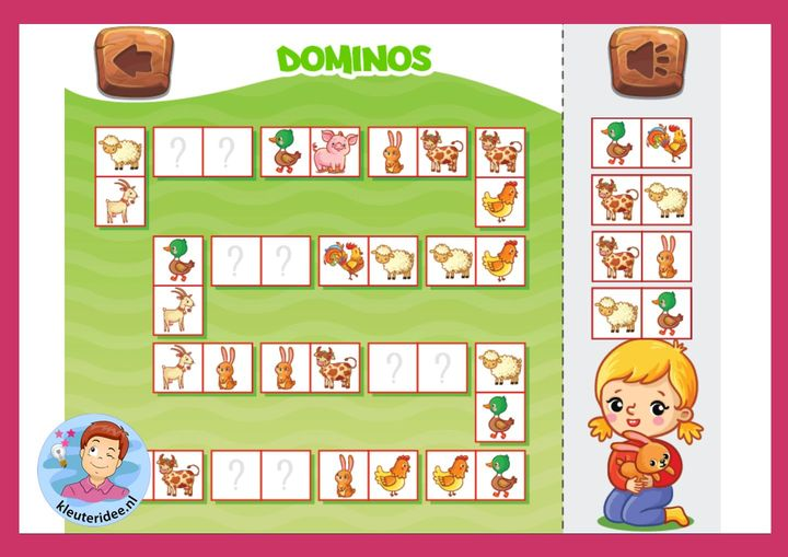 Domino dieren, kleuteridee