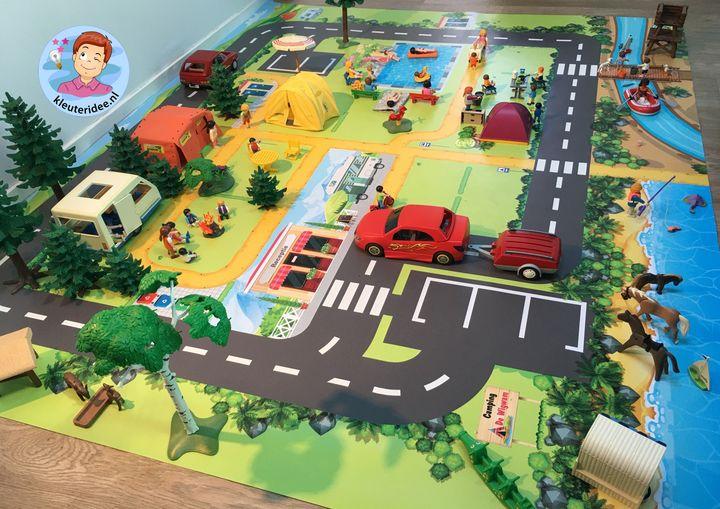 vloermat, speelmat camping, kinderspeelmat, kleuteridee