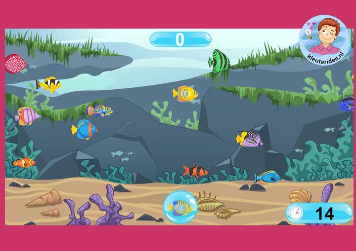 Zoek de vissen online voor kleuters  op digibord of computer  op kleuteridee
