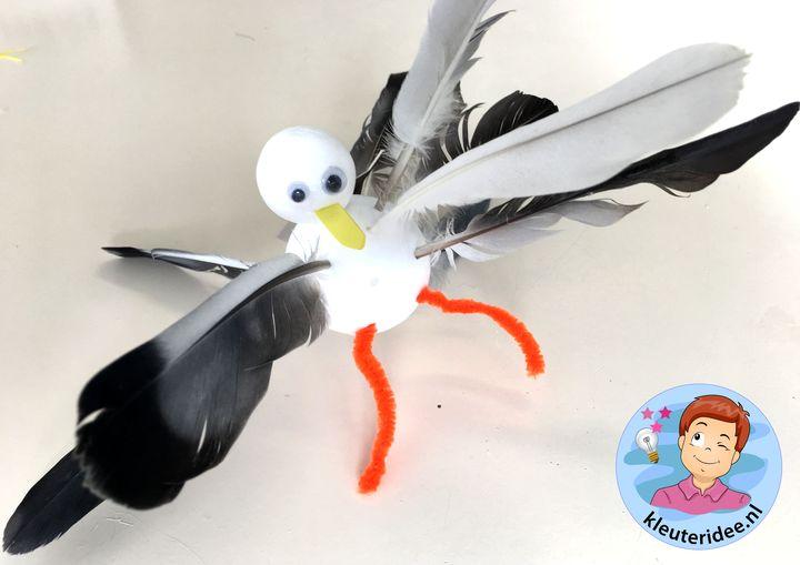Meeuw knutselen , kleuteridee, kindergarten gull craft
