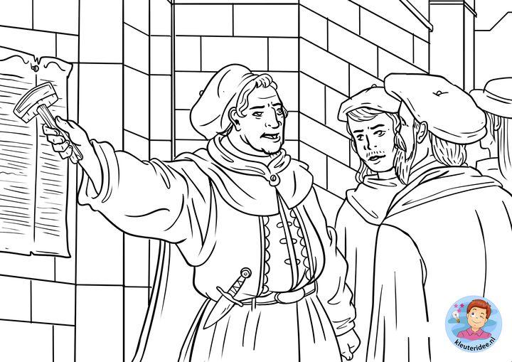 kleurplaat Maarten Luther 2, Hervormingsdag, kleuteridee