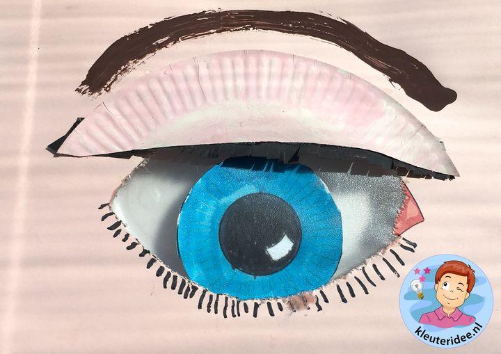 Een oog knutselen met kleuters, thema het oog, kleuteridee