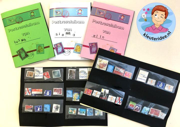 Postzegelalbum maken met kleuters, thema post, kleuteridee, met gratis download