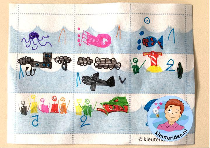 Postzegels ontwerpen met kleuters 4, thema post, kleuteridee