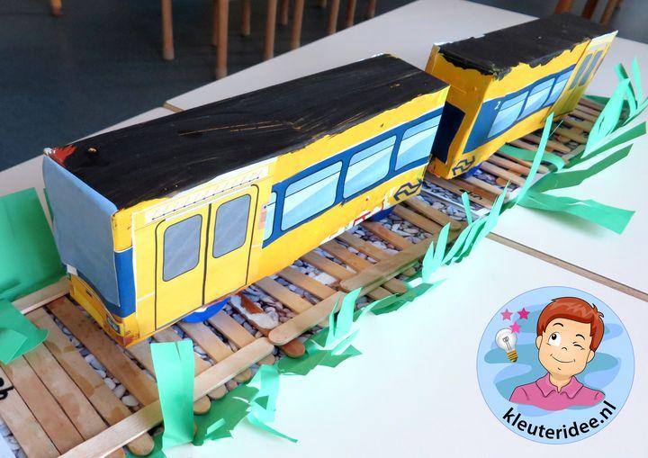 trein van dozen knutselen, kleuteridee.nl, met gratis downloads, free printables, kindergarten railway theme