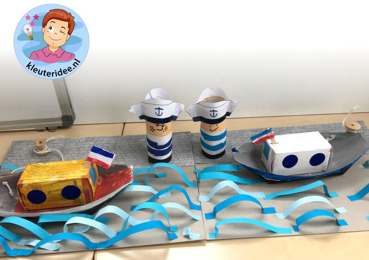 Boot knutselen met kleuters, thema de haven 5, kleuteridee, kindergarten ship craft