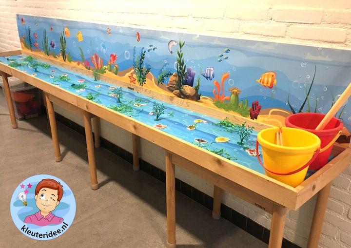 Speeltafel onder water voor kleuters, thema water, kleuteridee