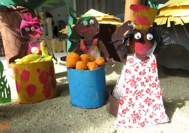 Mensen uit Afrika knutselen van toiletrollen,kleuteridee, thema Afrika, kindergarten Africa people craft