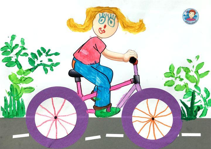 Knutselen met kleuters thema de fiets, met gratis download, kleuteridee