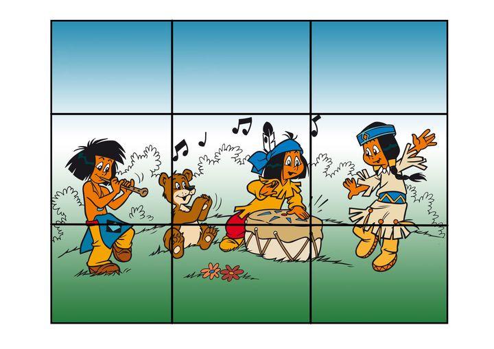 Indianen puzzel 2 voor kleuters, kleuteridee.nl